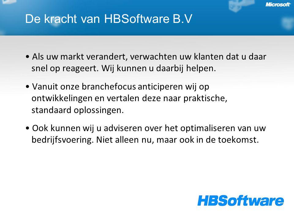 De kracht van HBSoftware B.V Als uw markt verandert, verwachten uw klanten dat u daar snel op reageert. Wij kunnen u daarbij helpen. Vanuit onze branc