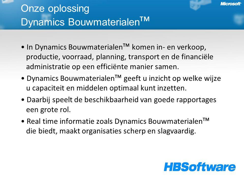 Onze oplossing Dynamics Bouwmaterialen ᵀᴹ In Dynamics Bouwmaterialenᵀᴹ komen in- en verkoop, productie, voorraad, planning, transport en de financiële