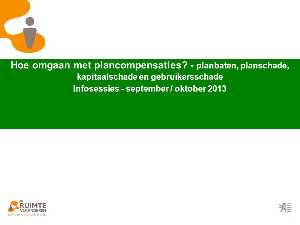 22 grafisch register met mogelijke plancompensaties Voorbeeld grafisch register Voorbeeld toelichtingsnota Voorbeeld legende + disclaimer plancompensaties - het grafisch register van percelen waarop de regeling van planschade, planbaten, kapitaalschade of gebruikersschade van toepassing kan zijn Velddefinities voor het grafisch register met plancompensaties  algplanid: tekst (25) - het identificatienummer van het RUP  planafgid: teskt (25) - het identificatienummer van de planafgeleide (PBT voor planbaten, PSC voor planschade, KGS voor kapitaal / gebruikersschade)  bron_cat: tekst (3) - de broncategorie (juridische toestand)  doel_cat: teskt (3) - de doelcategorie (RUP)  opm: tekst (254)  bd: teskt (7) - combinatie bron- en doelcategorie  ondergrond: teskt (25) - de gebruikte ondergrond voor opmaak van het RUP  aard_ond: tekst (254) - omschrijving van de ondergrond  d_ond: datum - de datum (toestand) van de gebruikte ondergrond  prec_ond: numeriek - de precisie van de gebruikte ondergrond