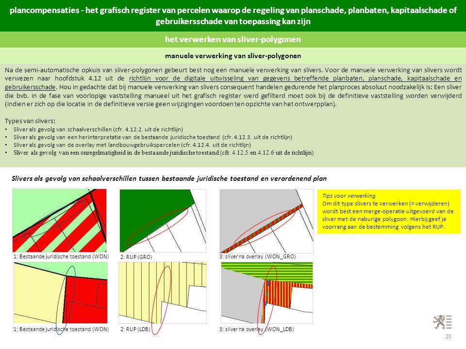 20 het verwerken van sliver-polygonen manuele verwerking van sliver-polygonen Na de semi-automatische opkuis van sliver-polygonen gebeurt best nog een