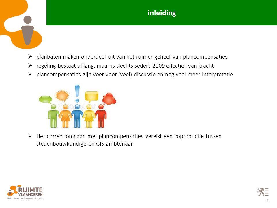 4 inleiding  planbaten maken onderdeel uit van het ruimer geheel van plancompensaties  regeling bestaat al lang, maar is slechts sedert 2009 effecti