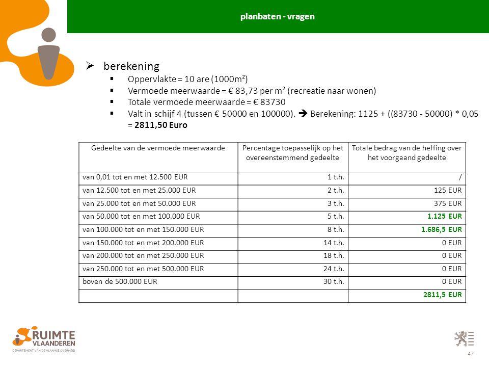 47  berekening  Oppervlakte = 10 are (1000m²)  Vermoede meerwaarde = € 83,73 per m² (recreatie naar wonen)  Totale vermoede meerwaarde = € 83730 