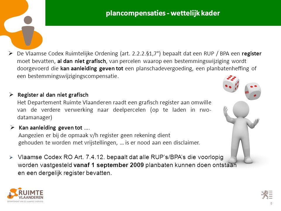 5  De Vlaamse Codex Ruimtelijke Ordening (art. 2.2.2.§1,7°) bepaalt dat een RUP / BPA een register moet bevatten, al dan niet grafisch, van percelen