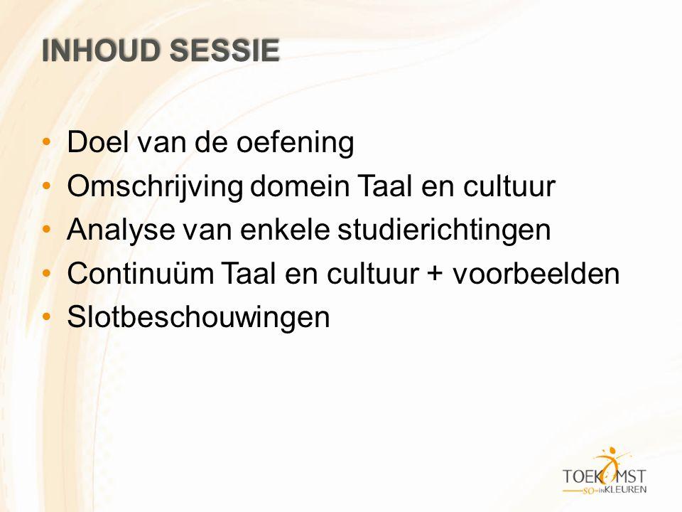 INHOUD SESSIE Doel van de oefening Omschrijving domein Taal en cultuur Analyse van enkele studierichtingen Continuüm Taal en cultuur + voorbeelden Slo