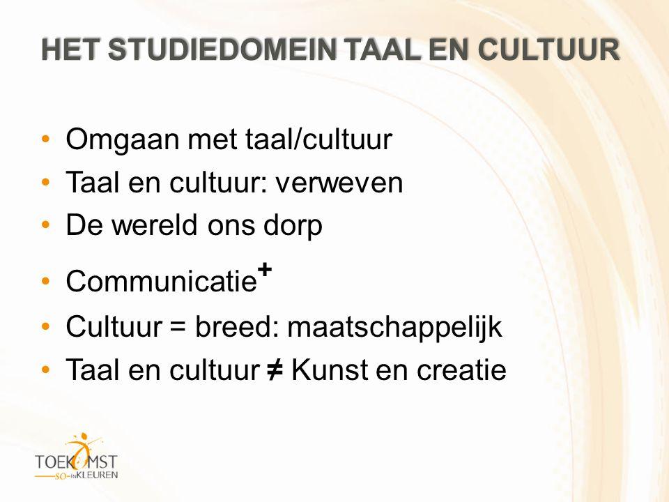 Omgaan met taal/cultuur Taal en cultuur: verweven De wereld ons dorp Communicatie + Cultuur = breed: maatschappelijk Taal en cultuur ≠ Kunst en creatie