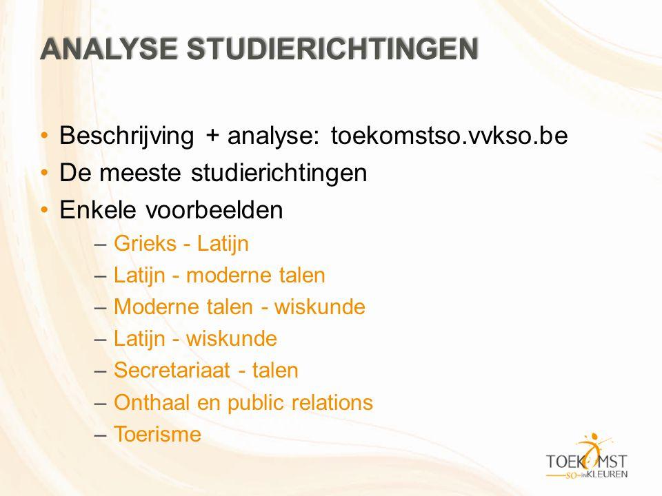 ANALYSE STUDIERICHTINGEN Beschrijving + analyse: toekomstso.vvkso.be De meeste studierichtingen Enkele voorbeelden –Grieks - Latijn –Latijn - moderne