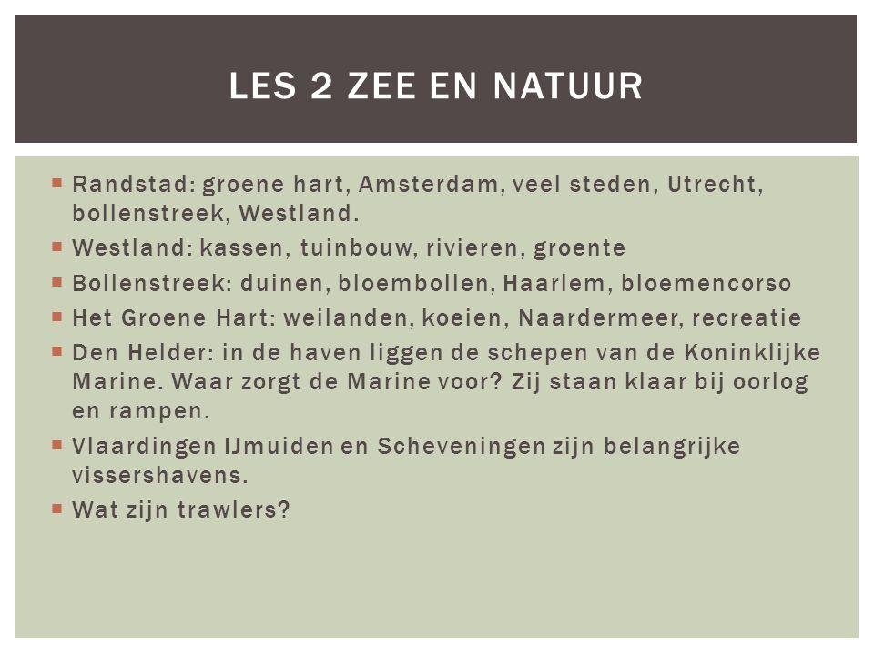  Randstad: groene hart, Amsterdam, veel steden, Utrecht, bollenstreek, Westland.  Westland: kassen, tuinbouw, rivieren, groente  Bollenstreek: duin