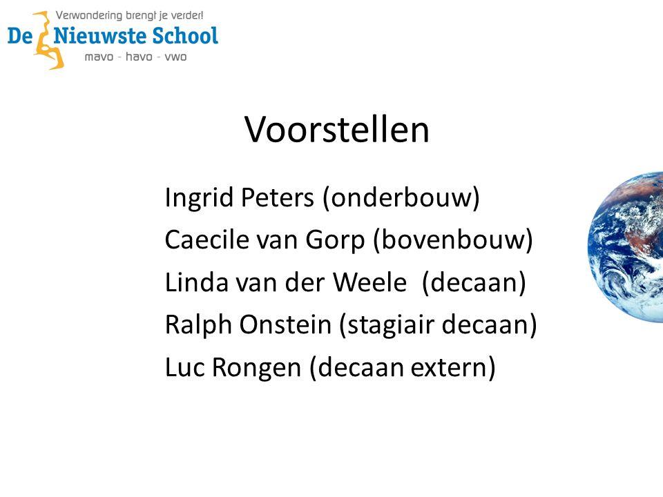 Voorstellen Ingrid Peters (onderbouw) Caecile van Gorp (bovenbouw) Linda van der Weele (decaan) Ralph Onstein (stagiair decaan) Luc Rongen (decaan extern)
