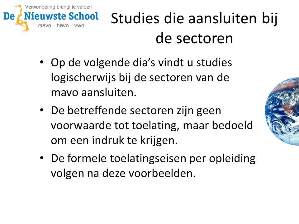 Op de volgende dia's vindt u studies logischerwijs bij de sectoren van de mavo aansluiten.