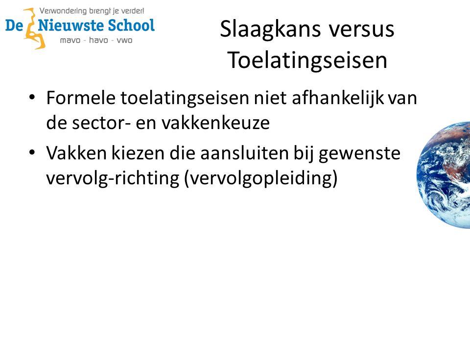 Slaagkans versus Toelatingseisen Formele toelatingseisen niet afhankelijk van de sector- en vakkenkeuze Vakken kiezen die aansluiten bij gewenste vervolg-richting (vervolgopleiding)