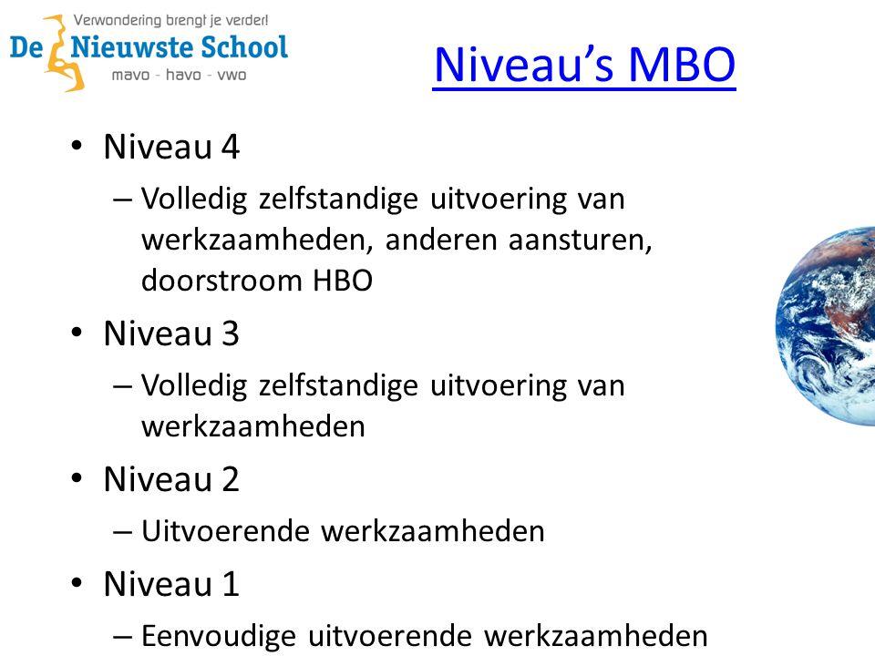 Niveau's MBO Niveau 4 – Volledig zelfstandige uitvoering van werkzaamheden, anderen aansturen, doorstroom HBO Niveau 3 – Volledig zelfstandige uitvoering van werkzaamheden Niveau 2 – Uitvoerende werkzaamheden Niveau 1 – Eenvoudige uitvoerende werkzaamheden