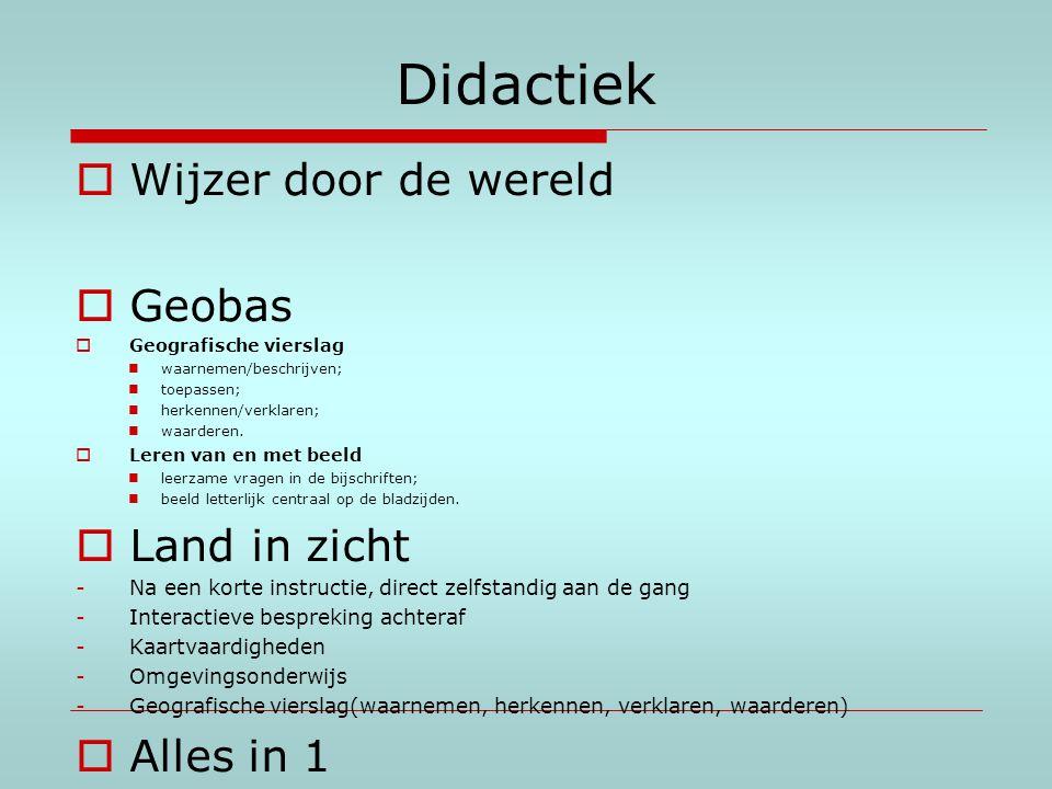 Didactiek  Wijzer door de wereld  Geobas  Geografische vierslag waarnemen/beschrijven; toepassen; herkennen/verklaren; waarderen.  Leren van en me