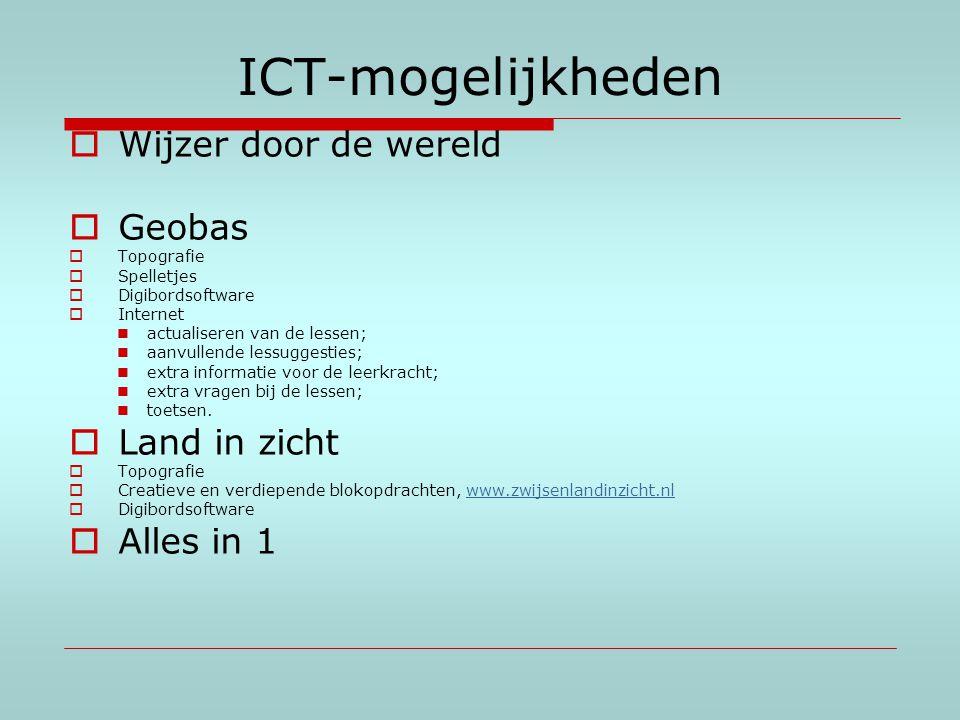 ICT-mogelijkheden  Wijzer door de wereld  Geobas  Topografie  Spelletjes  Digibordsoftware  Internet actualiseren van de lessen; aanvullende les