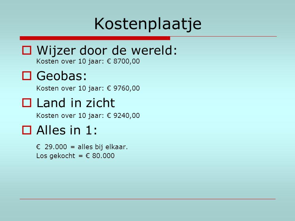 Kostenplaatje  Wijzer door de wereld: Kosten over 10 jaar: € 8700,00  Geobas: Kosten over 10 jaar: € 9760,00  Land in zicht Kosten over 10 jaar: €