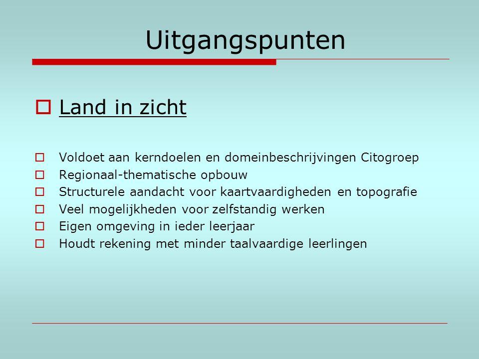 Uitgangspunten  Land in zicht  Voldoet aan kerndoelen en domeinbeschrijvingen Citogroep  Regionaal-thematische opbouw  Structurele aandacht voor k