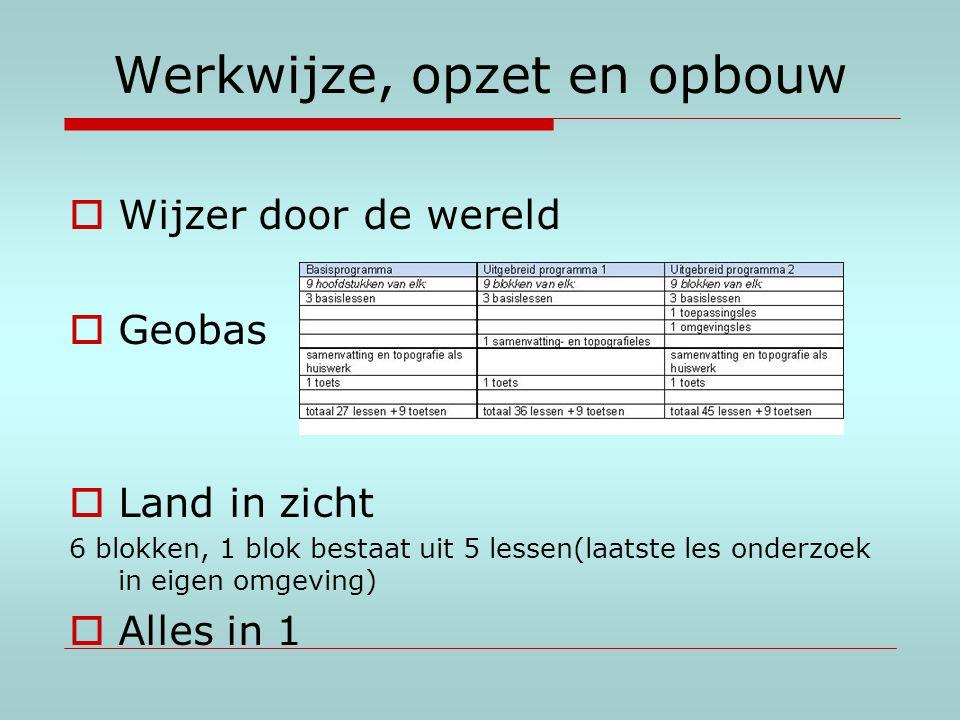 Werkwijze, opzet en opbouw  Wijzer door de wereld  Geobas  Land in zicht 6 blokken, 1 blok bestaat uit 5 lessen(laatste les onderzoek in eigen omge