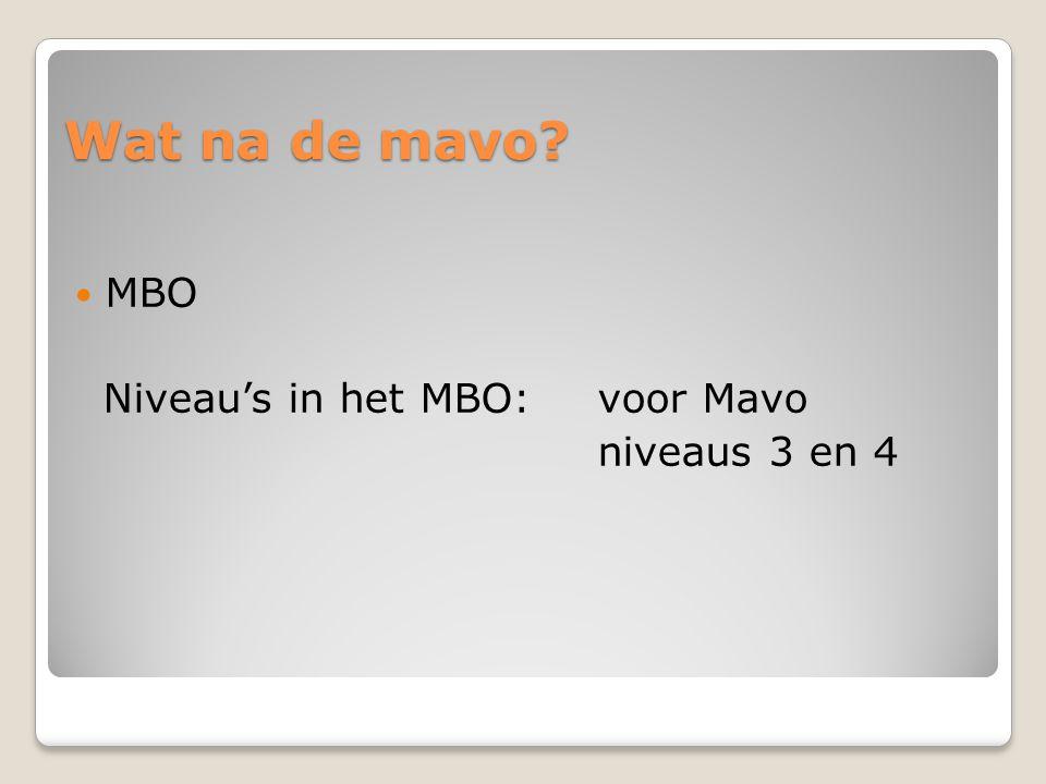 Wat na de mavo? MBO Niveau's in het MBO:voor Mavo niveaus 3 en 4