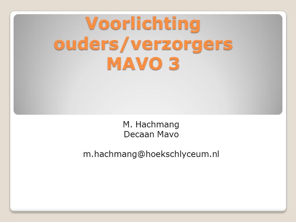Voorlichting ouders/verzorgers MAVO 3 M. Hachmang Decaan Mavo m.hachmang@hoekschlyceum.nl