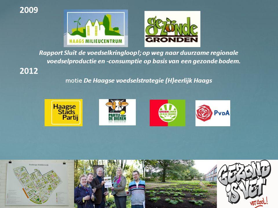 2009 Rapport Sluit de voedselkringloop!; op weg naar duurzame regionale voedselproductie en -consumptie op basis van een gezonde bodem. 2012 motie De
