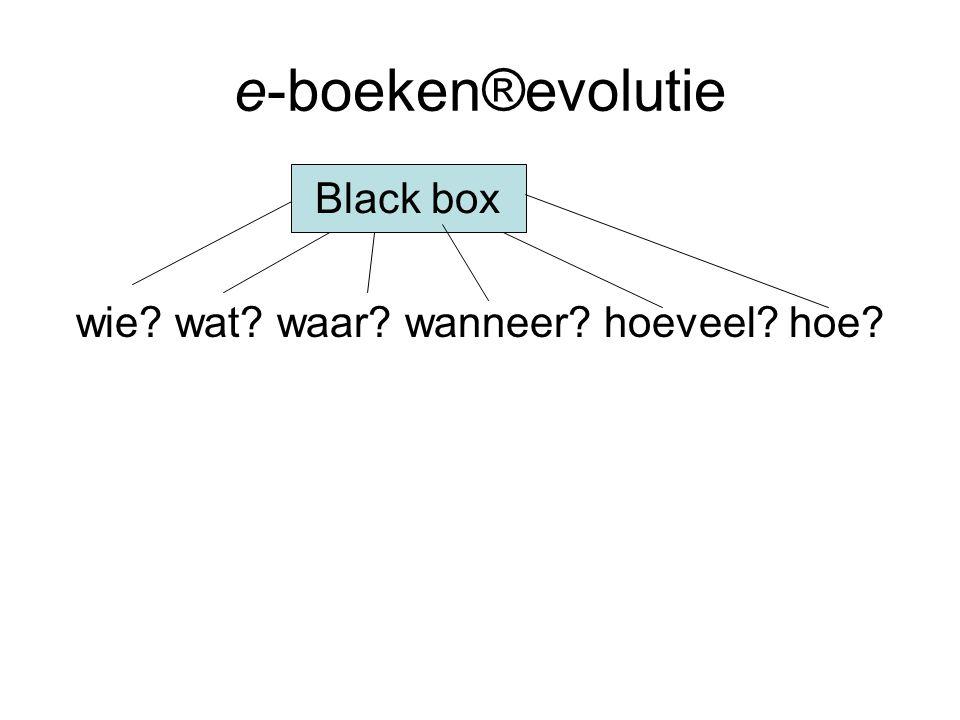 e-boeken®evolutie wie wat waar wanneer hoeveel hoe Black box