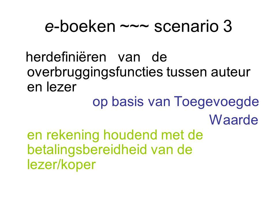 e-boeken ~~~ scenario 3 herdefiniëren van de overbruggingsfuncties tussen auteur en lezer op basis van Toegevoegde Waarde en rekening houdend met de betalingsbereidheid van de lezer/koper