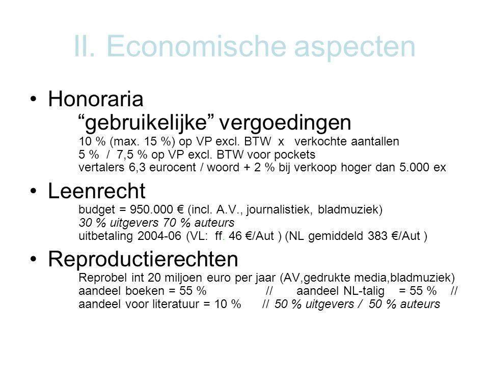 II. Economische aspecten Honoraria gebruikelijke vergoedingen 10 % (max.