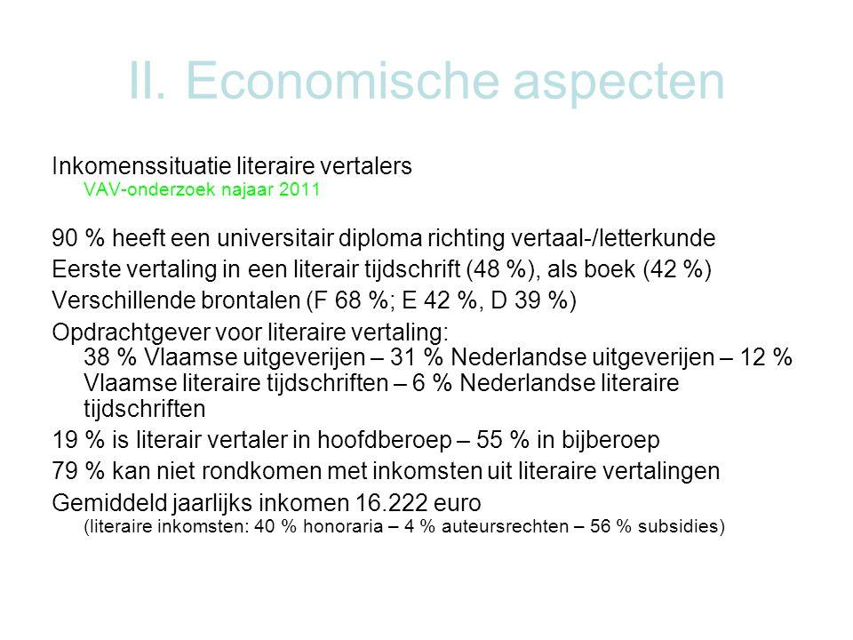 II. Economische aspecten Inkomenssituatie literaire vertalers VAV-onderzoek najaar 2011 90 % heeft een universitair diploma richting vertaal-/letterku