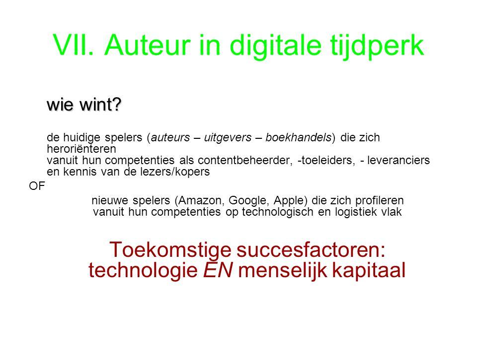 VII. Auteur in digitale tijdperk wie wint. wie wint.