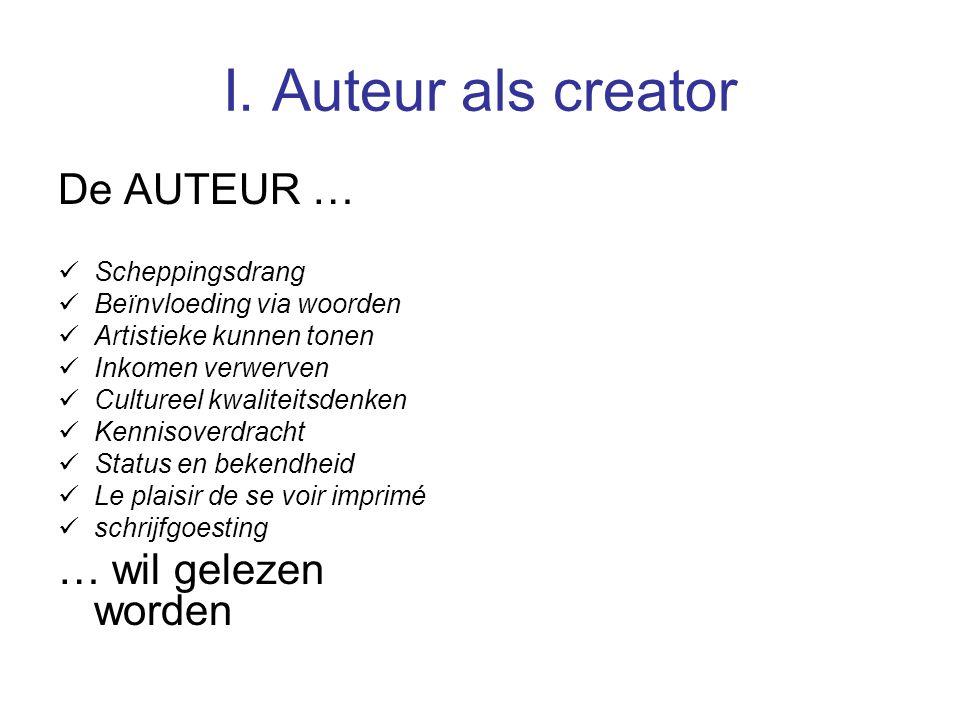 I. Auteur als creator De AUTEUR … Scheppingsdrang Beïnvloeding via woorden Artistieke kunnen tonen Inkomen verwerven Cultureel kwaliteitsdenken Kennis