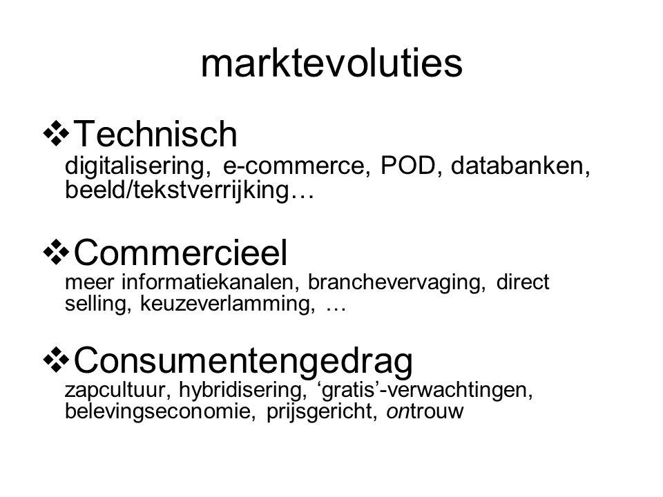marktevoluties  Technisch digitalisering, e-commerce, POD, databanken, beeld/tekstverrijking…  Commercieel meer informatiekanalen, branchevervaging, direct selling, keuzeverlamming, …  Consumentengedrag zapcultuur, hybridisering, 'gratis'-verwachtingen, belevingseconomie, prijsgericht, ontrouw
