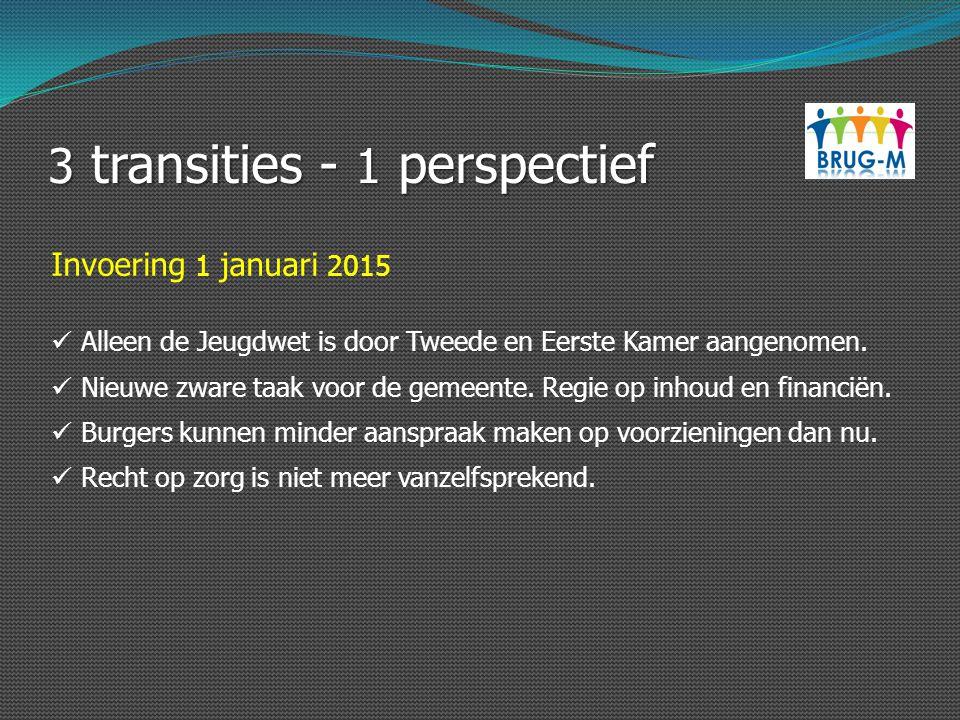 3 transities - 1 perspectief Invoering 1 januari 2015 Alleen de Jeugdwet is door Tweede en Eerste Kamer aangenomen. Nieuwe zware taak voor de gemeente