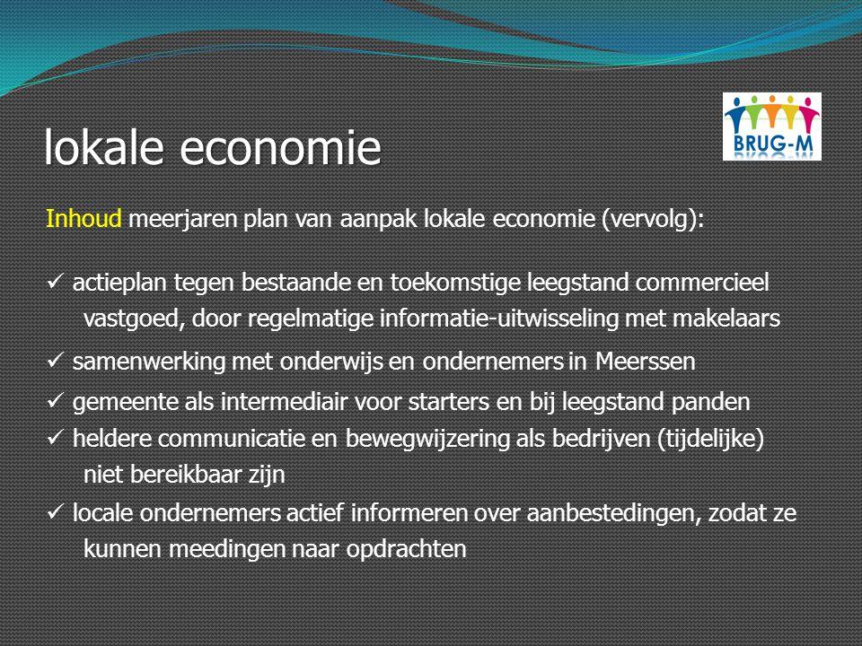 lokale economie Inhoud meerjaren plan van aanpak lokale economie (vervolg): actieplan tegen bestaande en toekomstige leegstand commercieel vastgoed, d