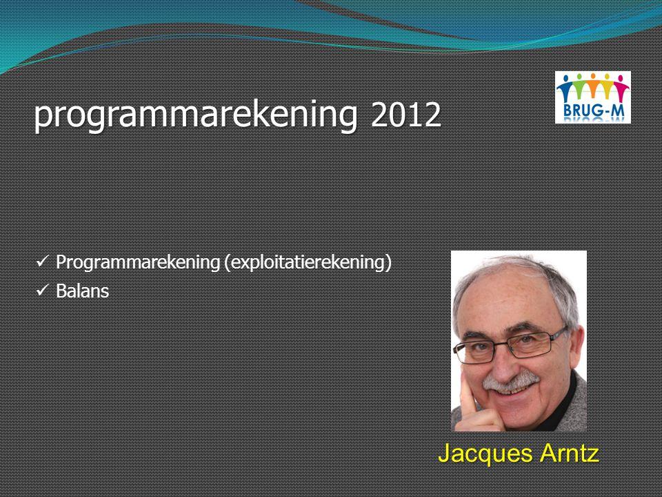 programmarekening 2012 Jacques Arntz Programmarekening (exploitatierekening) Balans