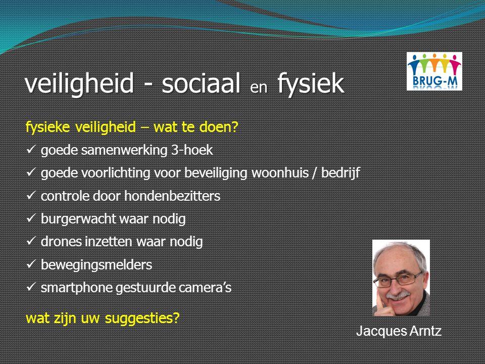 veiligheid - sociaal en fysiek fysieke veiligheid – wat te doen? goede samenwerking 3-hoek goede voorlichting voor beveiliging woonhuis / bedrijf cont