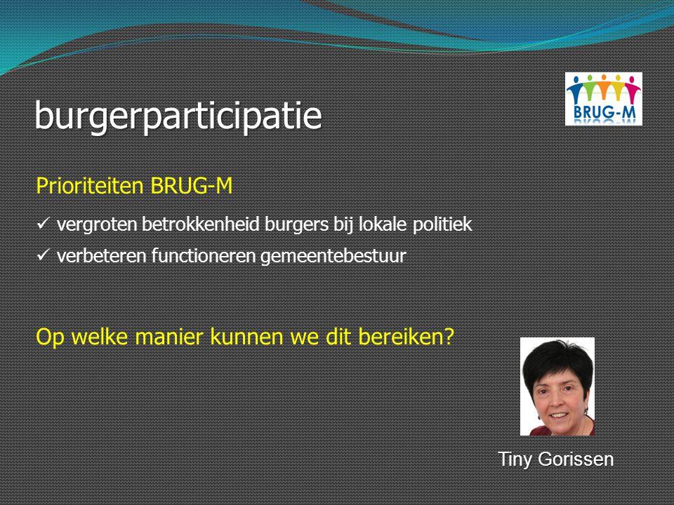 burgerparticipatie Prioriteiten BRUG-M verbeteren functioneren gemeentebestuur vergroten betrokkenheid burgers bij lokale politiek Op welke manier kun