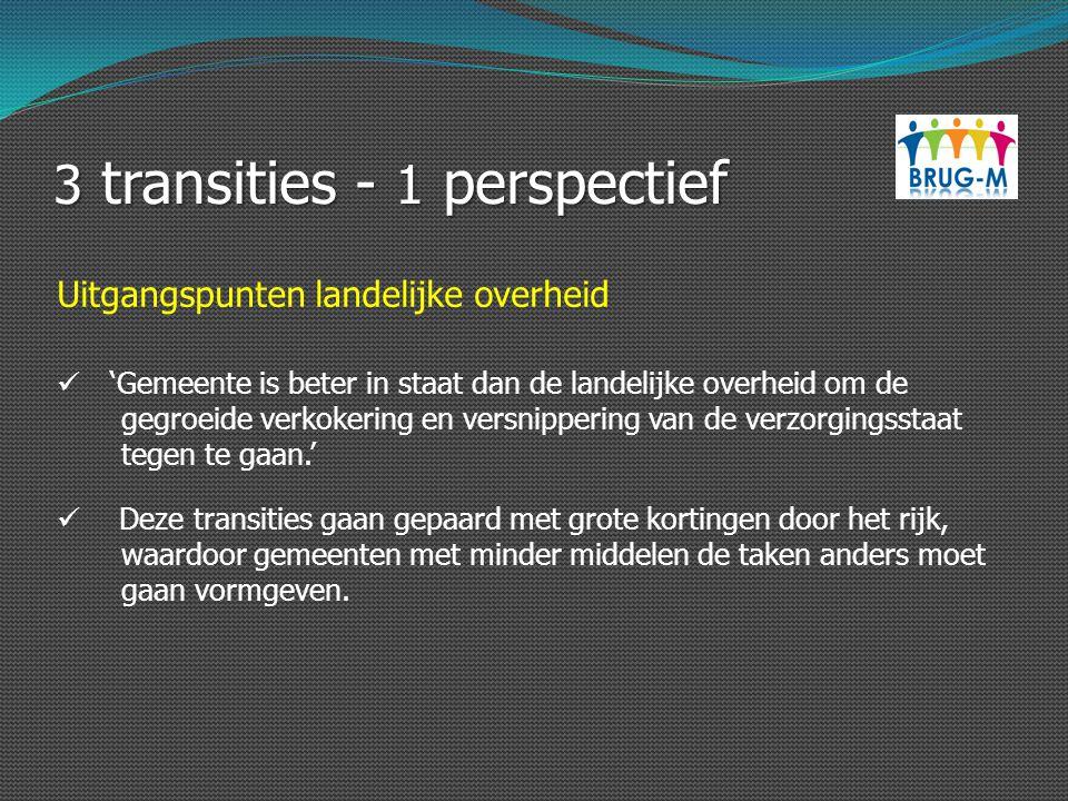 3 transities - 1 perspectief 'Gemeente is beter in staat dan de landelijke overheid om de gegroeide verkokering en versnippering van de verzorgingssta