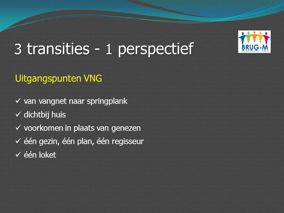 3 transities - 1 perspectief Uitgangspunten VNG van vangnet naar springplank dichtbij huis voorkomen in plaats van genezen één gezin, één plan, één re