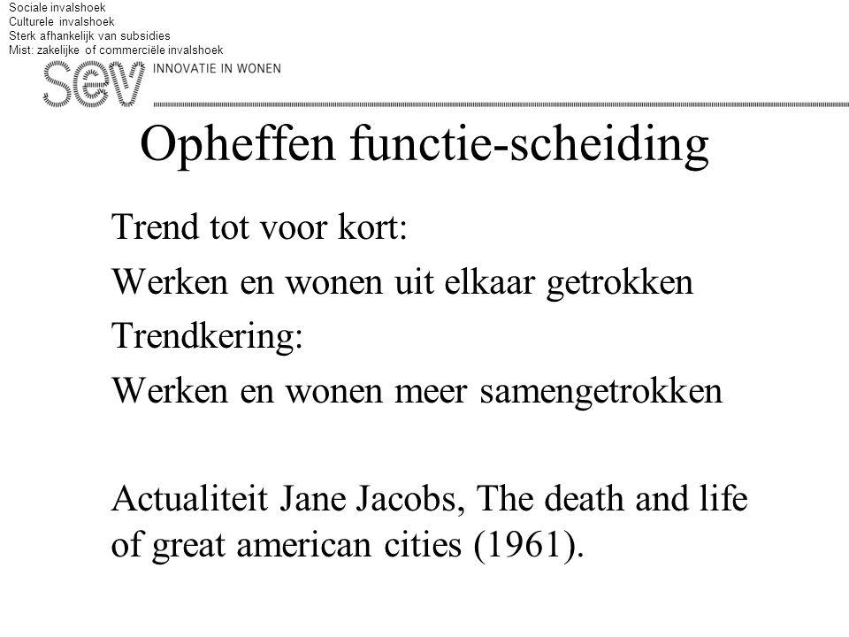 Opheffen functie-scheiding Trend tot voor kort: Werken en wonen uit elkaar getrokken Trendkering: Werken en wonen meer samengetrokken Actualiteit Jane