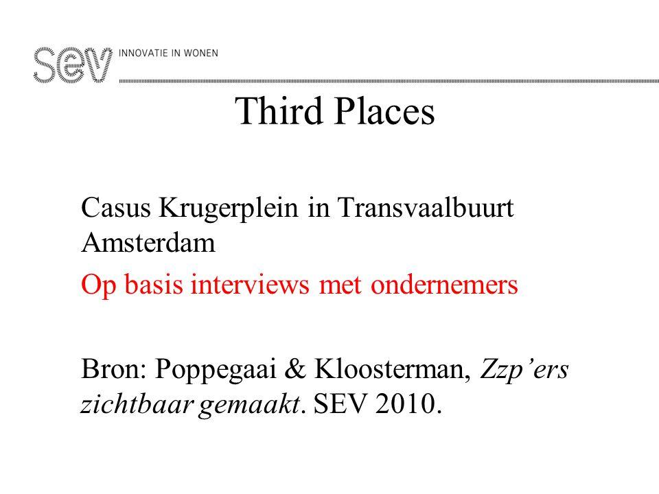 Third Places Casus Krugerplein in Transvaalbuurt Amsterdam Op basis interviews met ondernemers Bron: Poppegaai & Kloosterman, Zzp'ers zichtbaar gemaak