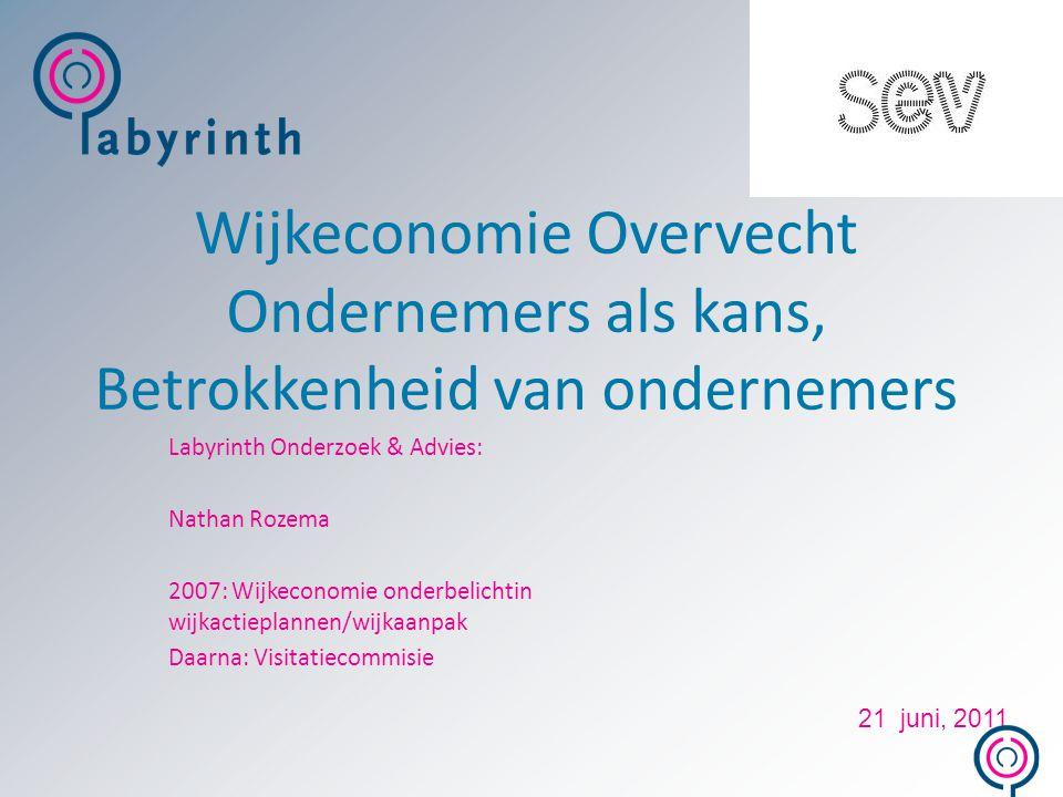 Wijkeconomie Overvecht Ondernemers als kans, Betrokkenheid van ondernemers Labyrinth Onderzoek & Advies: Nathan Rozema 2007: Wijkeconomie onderbelicht