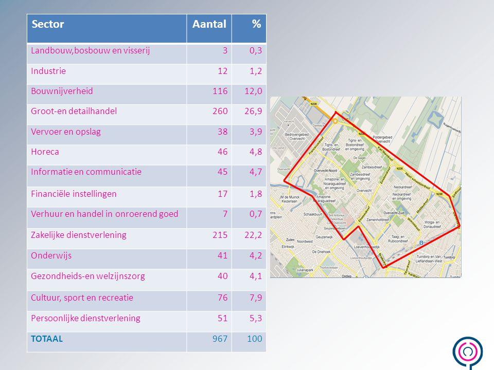 SectorAantal% Landbouw,bosbouw en visserij30,3 Industrie121,2 Bouwnijverheid11612,0 Groot-en detailhandel26026,9 Vervoer en opslag383,9 Horeca464,8 In