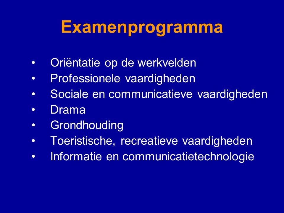 Examenprogramma Oriëntatie op de werkvelden Professionele vaardigheden Sociale en communicatieve vaardigheden Drama Grondhouding Toeristische, recreatieve vaardigheden Informatie en communicatietechnologie
