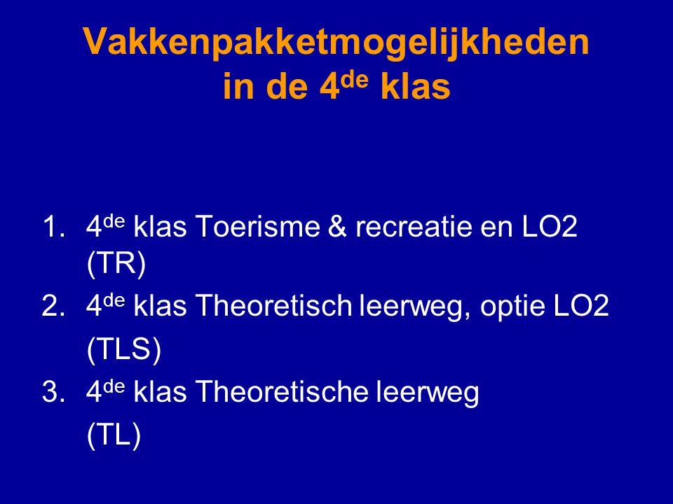 Vakkenpakketmogelijkheden in de 4 de klas 1.4 de klas Toerisme & recreatie en LO2 (TR) 2.4 de klas Theoretisch leerweg, optie LO2 (TLS) 3.4 de klas Theoretische leerweg (TL)