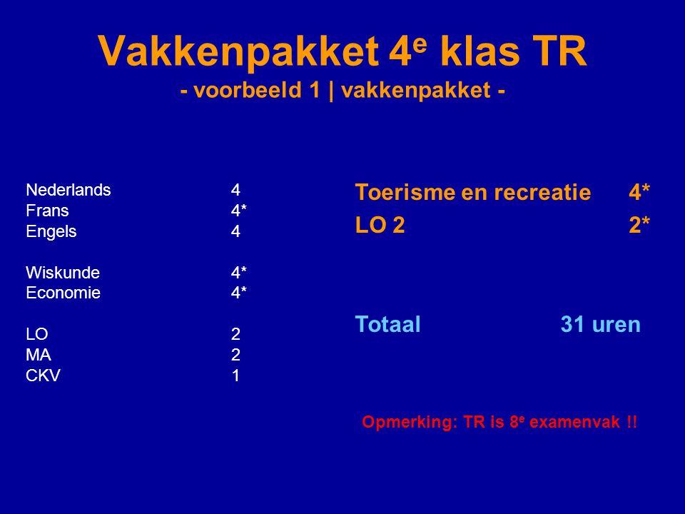 Vakkenpakket 4 e klas TR - voorbeeld 1 | vakkenpakket - Nederlands4 Frans4* Engels4 Wiskunde4* Economie4* LO2 MA2 CKV1 Toerisme en recreatie4* LO 22* Totaal 31 uren Opmerking: TR is 8 e examenvak !!
