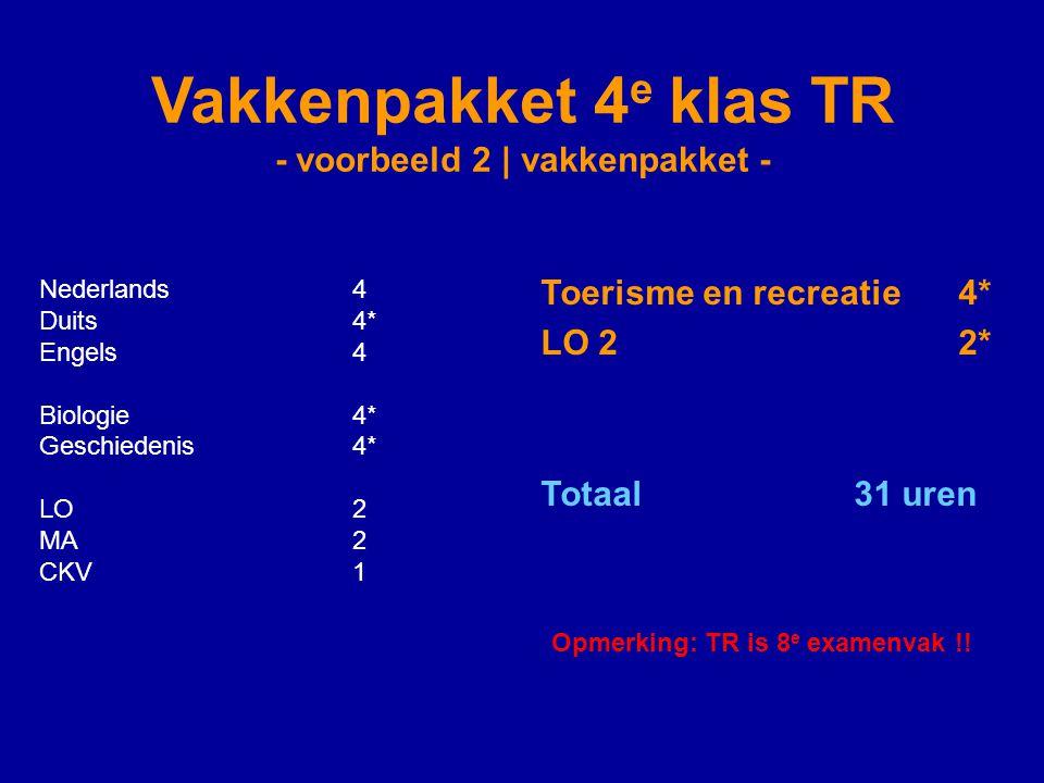 Vakkenpakket 4 e klas TR - voorbeeld 2 | vakkenpakket - Nederlands4 Duits4* Engels4 Biologie4* Geschiedenis4* LO2 MA2 CKV1 Toerisme en recreatie4* LO 22* Totaal 31 uren Opmerking: TR is 8 e examenvak !!
