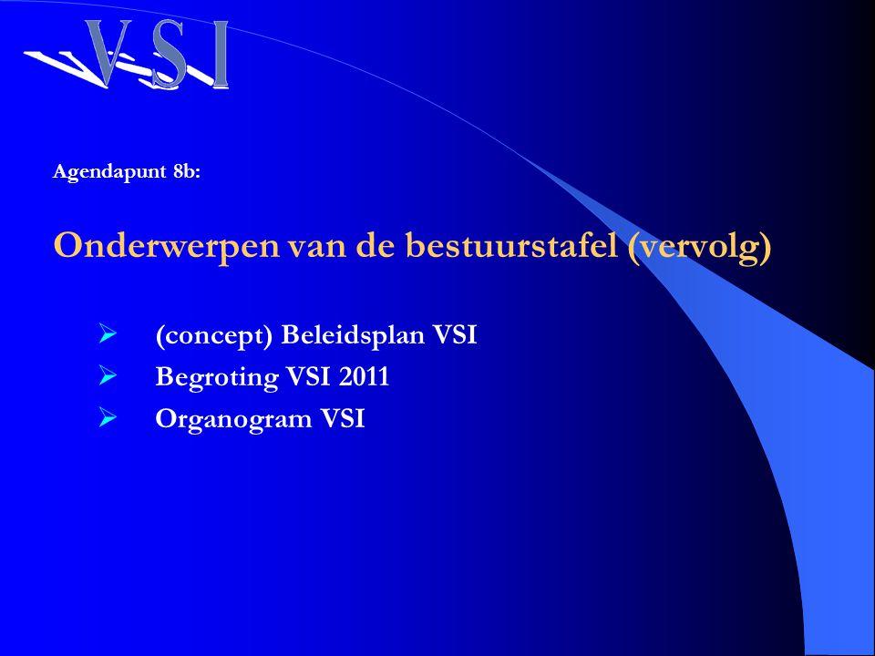 Agendapunt 8b: Onderwerpen van de bestuurstafel (vervolg)  (concept) Beleidsplan VSI  Begroting VSI 2011  Organogram VSI