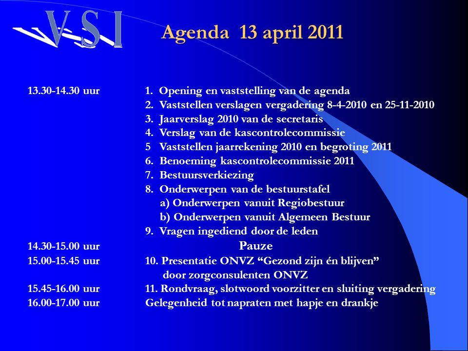 13.30-14.30 uur 1. Opening en vaststelling van de agenda 2. Vaststellen verslagen vergadering 8-4-2010 en 25-11-2010 3. Jaarverslag 2010 van de secret