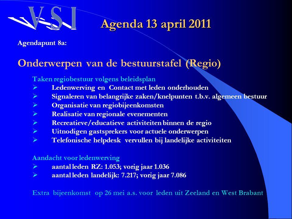 Agendapunt 8a: Onderwerpen van de bestuurstafel (Regio) Taken regiobestuur volgens beleidsplan  Ledenwerving en Contact met leden onderhouden  Signa
