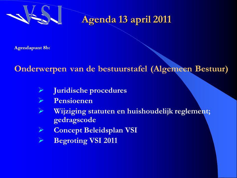Agenda 13 april 2011 Agendapunt 8b: Onderwerpen van de bestuurstafel (Algemeen Bestuur)  Juridische procedures  Pensioenen  Wijziging statuten en h