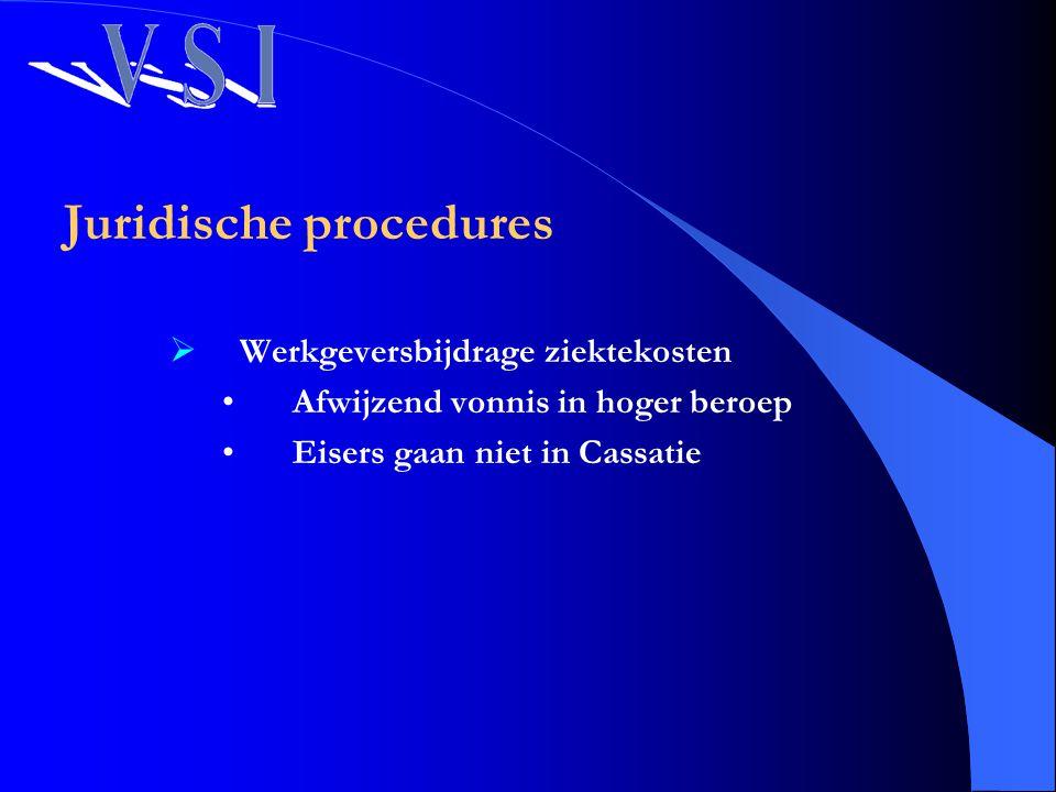 Juridische procedures  Werkgeversbijdrage ziektekosten Afwijzend vonnis in hoger beroep Eisers gaan niet in Cassatie